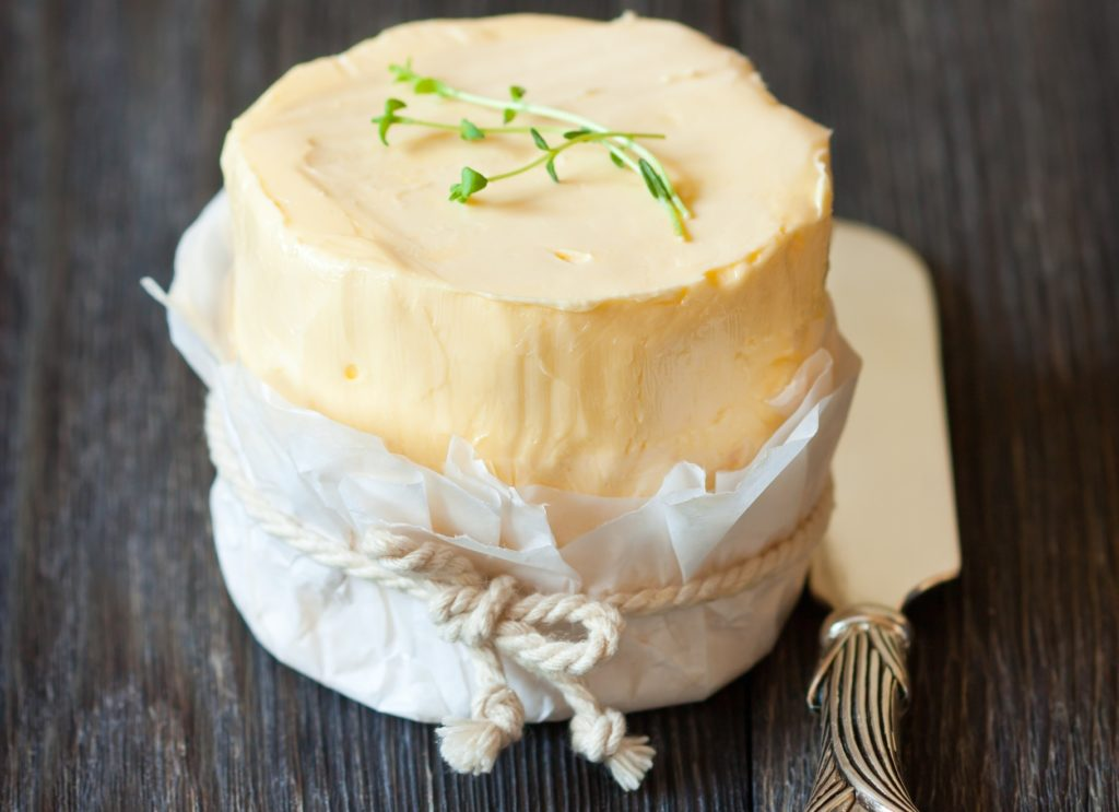 Crock of creamy homemade butter